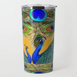 BLUE PEACOCKS  GOLDEN FEATHER DESIGN PATTERNS GN Travel Mug