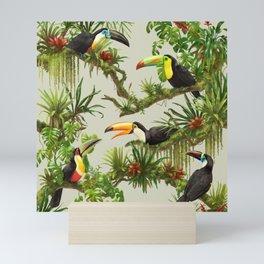 Toucans and Bromeliads (Canvas Background) Mini Art Print