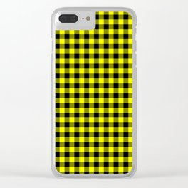 Classic Yellow Country Cottage Summer Buffalo Plaid Clear iPhone Case