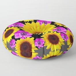 PURPLE FLOWERS & SUNFLOWERS DECO ART Floor Pillow