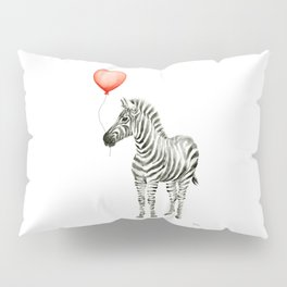 Baby Zebra with Red Balloon Pillow Sham