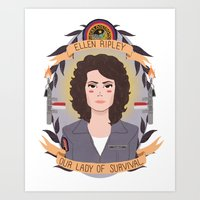 heymonster Art Prints featuring Ellen Ripley by heymonster
