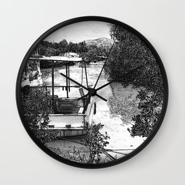 Boats and river in black and white Wall Clock