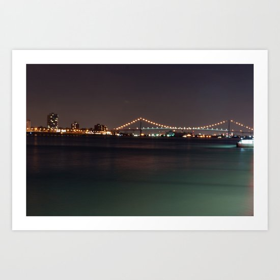 Bridge from Detroit to Canada Art Print