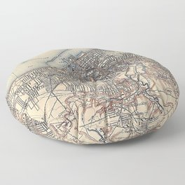 Vintage Map of Cleveland (1904)  Floor Pillow
