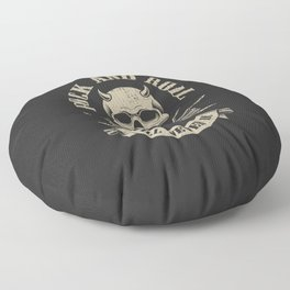 Rock and roll will never die. Rocker skull with horns. Rock gift Floor Pillow