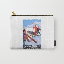 1930 Winter Sports In The French Alps Poster Carry-All Pouch