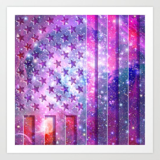 Outer space | American Flag abstract pink glitter galaxy space Art Print