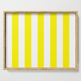 Cadmium yellow - solid color - white vertical lines pattern Serving Tray
