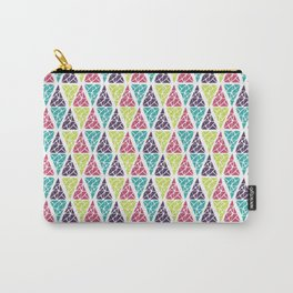 Geometrical pink lime abstract triangles pattern Carry-All Pouch