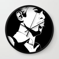 bowie Wall Clocks featuring Bowie by Tikwid