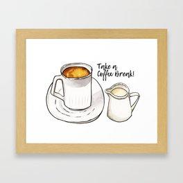 Coffee Break Watercolor and Ink Illustration Framed Art Print