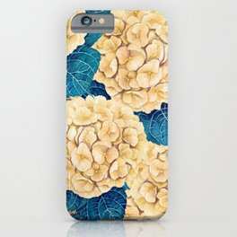 Hydrangea watercolor pattern, yellow and blue iPhone Case