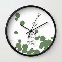 Life in lily pad pond Wall Clock