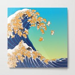 Shiba Inu in Great Wave Metal Print