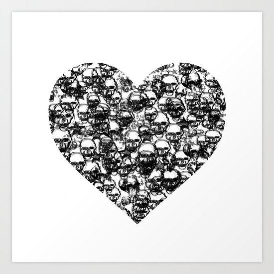 Skull Black Heart Art Print