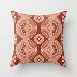 Art Deco Tile Floral (terracota) 2 Throw Pillow