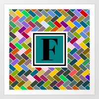 monogram Art Prints featuring F Monogram by mailboxdisco