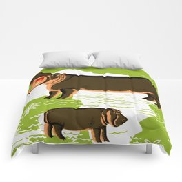Vintage African Hippo Zoo Ad Comforters