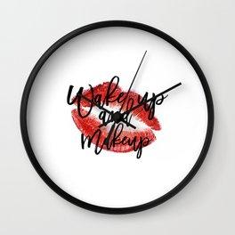 Wake up And Makeup Fashion quote Gift Idea Typographic Print Wall artwork Fashionista Mascara Print Wall Clock