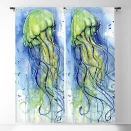 Jellyfish Watercolor Beautiful Sea Creatures Blackout Curtain