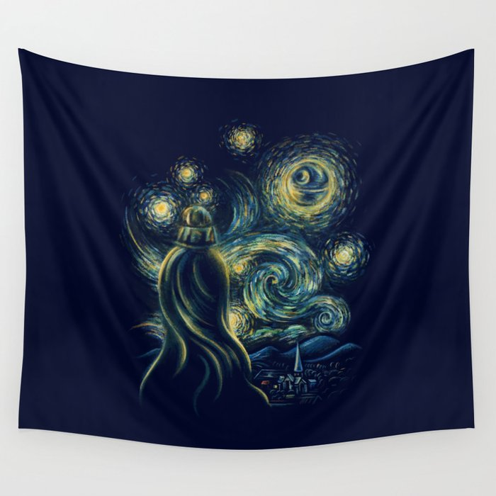 Death Starry Night Wall Tapestry