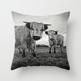 Two Shaggy Cows Throw Pillow