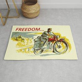 Retro vintage style FREEDOM motorcycle Rug