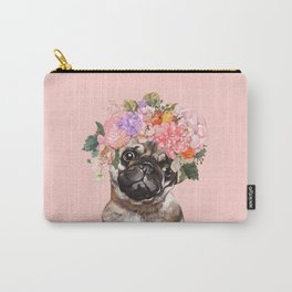 Pug with Flower Crown Carry-All Pouch