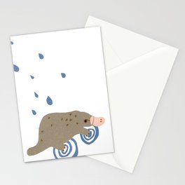 rainy day platypus Stationery Cards