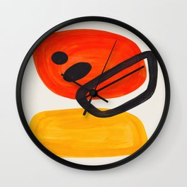 Colorful Mid Century Modern Abstract Fun Shapes Patterns Space Age Orange Yellow Orbit Bubbles Wall Clock