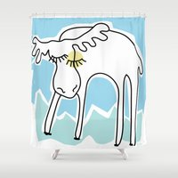 maine Shower Curtains featuring MAINE MOOSE by Erin Thomas