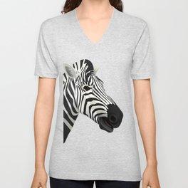 a zebra head portrait Unisex V-Neck