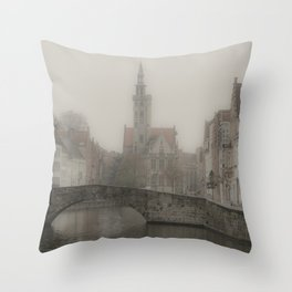 Misty Bridge of Bruges Throw Pillow