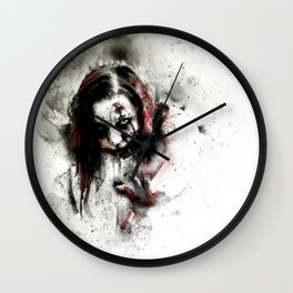 Watercolor Zombie, Horror Zombie, Cool Women Zombie Painting Wall Clock