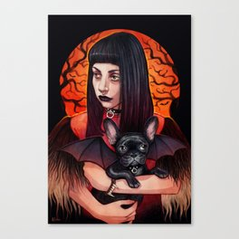 The Vamp and her BatPig Canvas Print