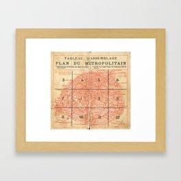Vintage Paris City Centre Map Framed Art Print