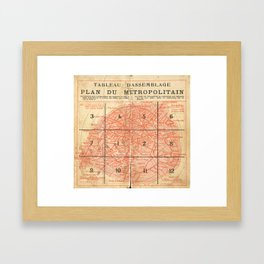 Vintage Paris City Centre Map Framed Art Print