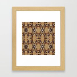 Khaki Tan Orange Dark Brown Native American Indian Mosaic Pattern Framed Art Print