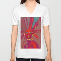 medusa V-neck T-shirts featuring MEDUSA by Julia Lillard Art