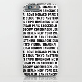 Famous City pattern Grass White & Black iPhone Case