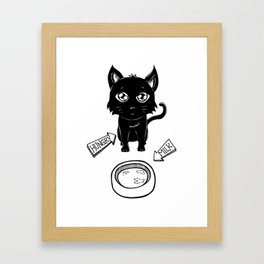Cute & Funny Hungry Cat Kitty Waiting for Milk Framed Art Print