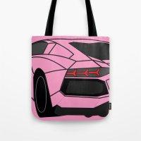 lamborghini Tote Bags featuring Lamborghini Aventador by societystar