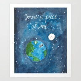 Piece of Me Earth and Moon Watercolor Art Print