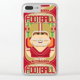 American Football Red and Gold - Hail-Mary Blitzsacker - Jacqui version Clear iPhone Case