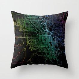 Eugene Or USA City Map Rainbow City Map Art Print Throw Pillow