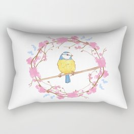 Bird and pink flowers Rectangular Pillow