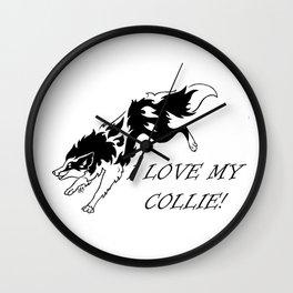 I LOVE MY COLLIE TRIBAL Wall Clock