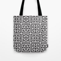 greek Tote Bags featuring Greek Print by I Love Decor