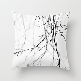 Mix Of Birch Tree Twigs In Winter Throw Pillow